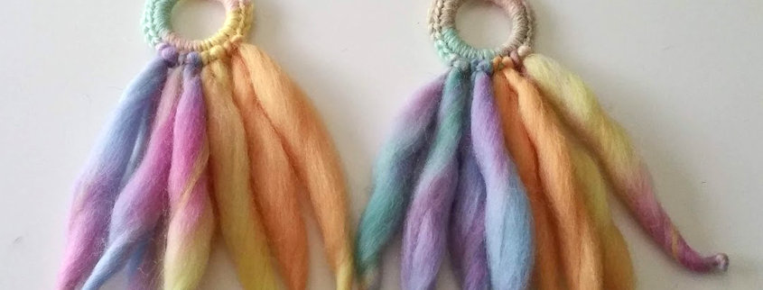 unicorn woollen nordic light fringe earrings