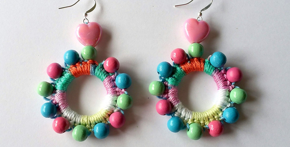 Sunflower earrings, Pastel