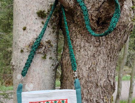 green recycle denim folk dance bag