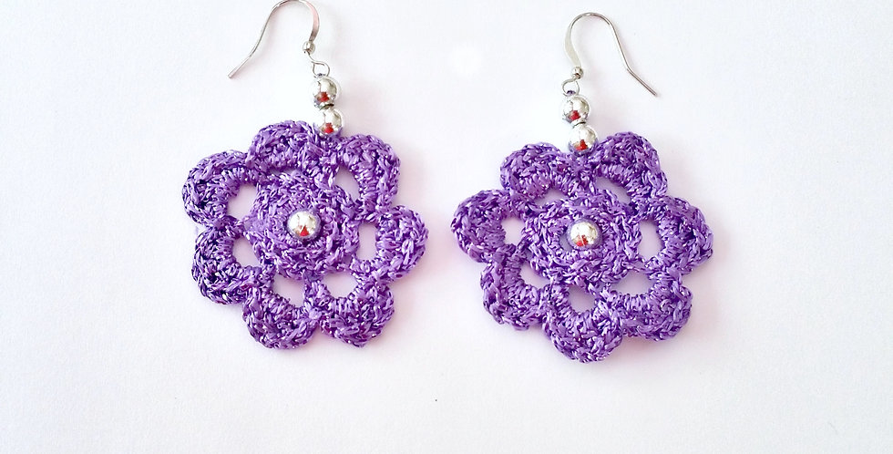 Flower of Life lace earrings, metallic lilac