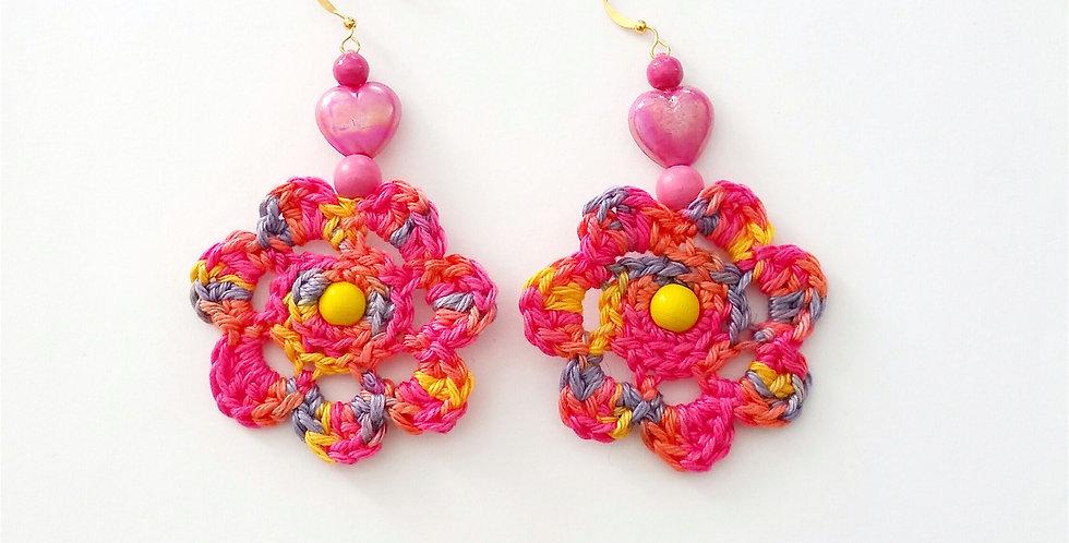 Flower of Life earrings, pink