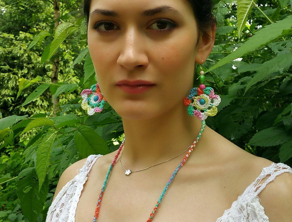 Flower of Life earrings, pastel