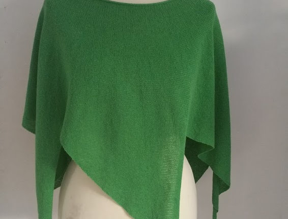 spring green knitted nordic star poncho