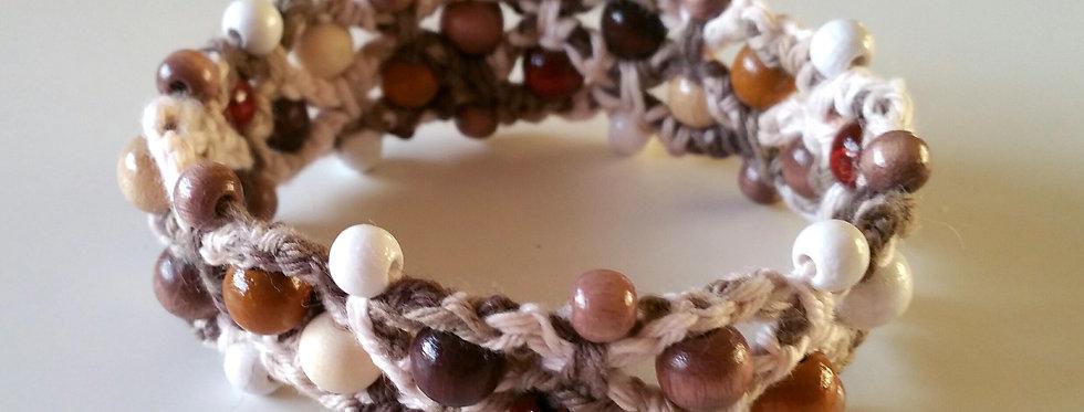 Folk dance bracelet, brown and white mix