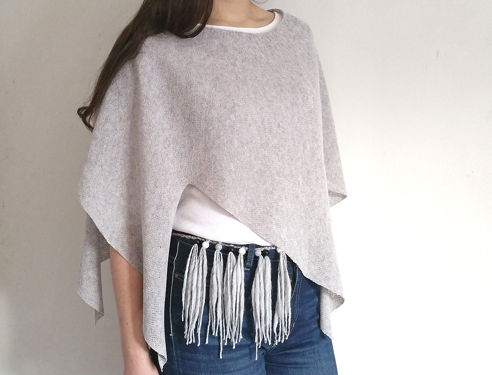 silver grey knitted nordic star poncho