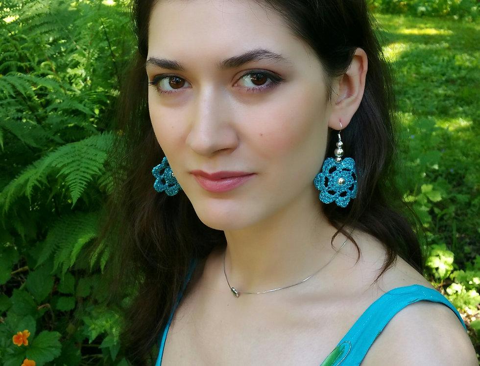 Flower of Life lace earrings, metallic turquoise