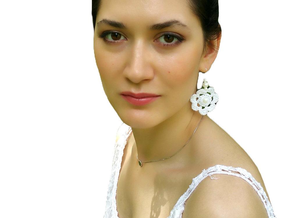 Flower of Life earrings, metallic white