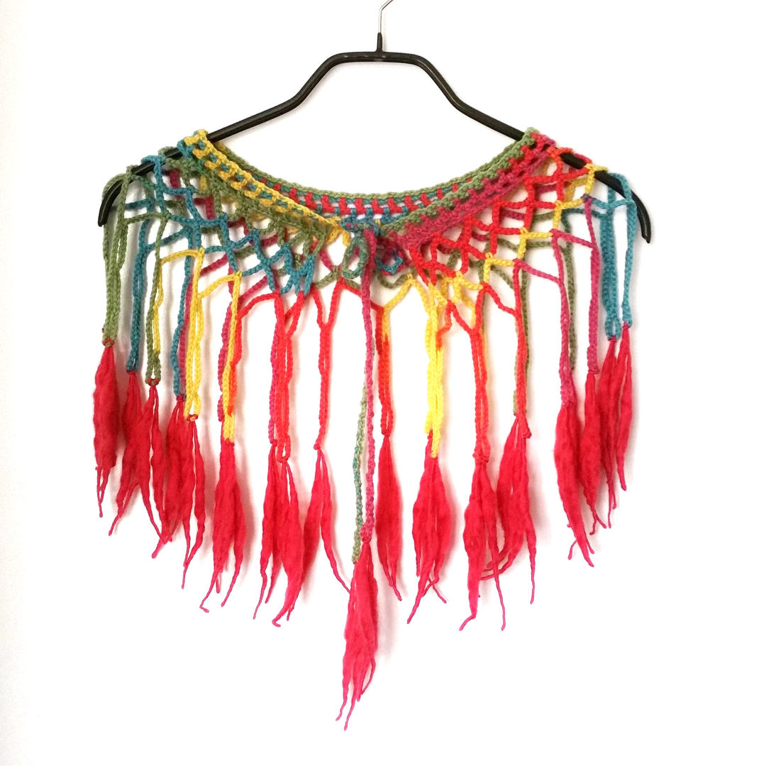 Louhi web shawl, rainbow
