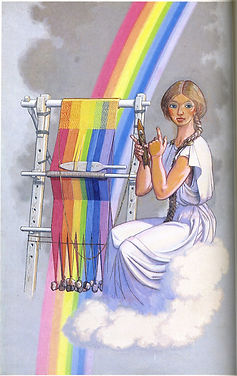Woman knitting a rainbow