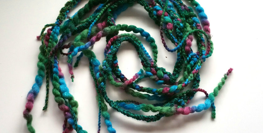 Fairytale coloured crocheted City Shaman garland