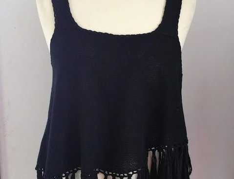 Black knitted nordic amazon fringe top