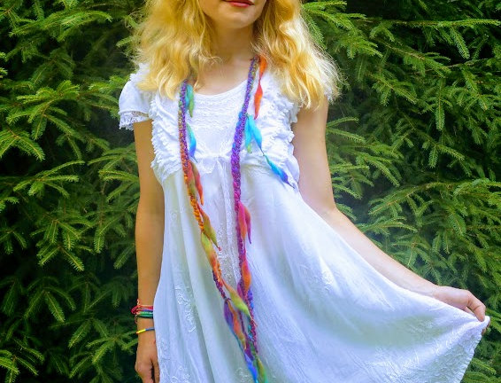 wearing crocheted fairy mist city shaman garland