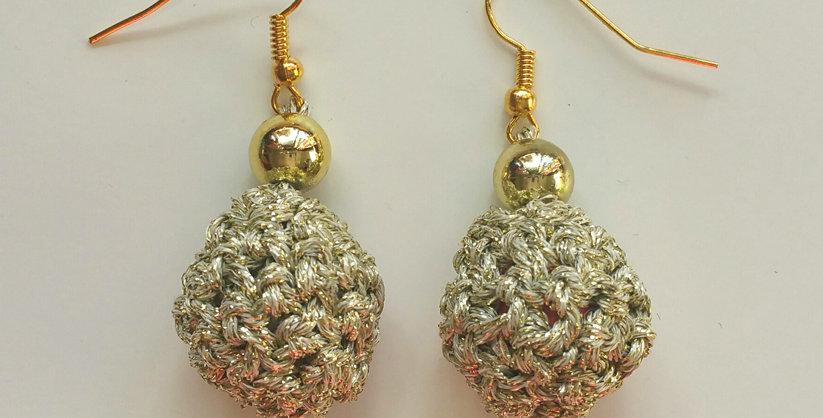 Golden crocheted golden age earrings
