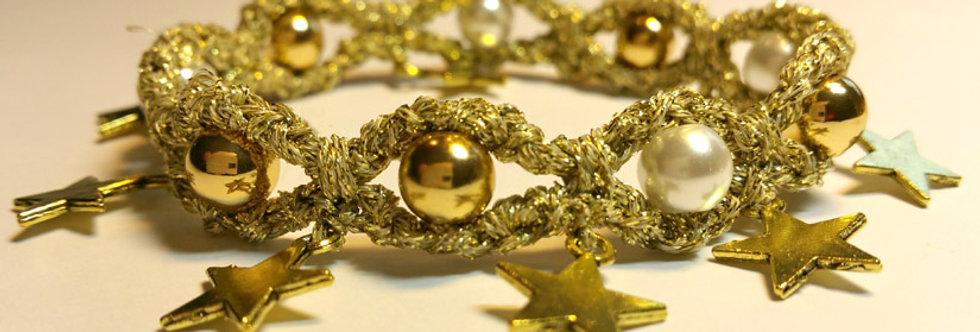 Golden crocheted miss nordic starlight bracelet