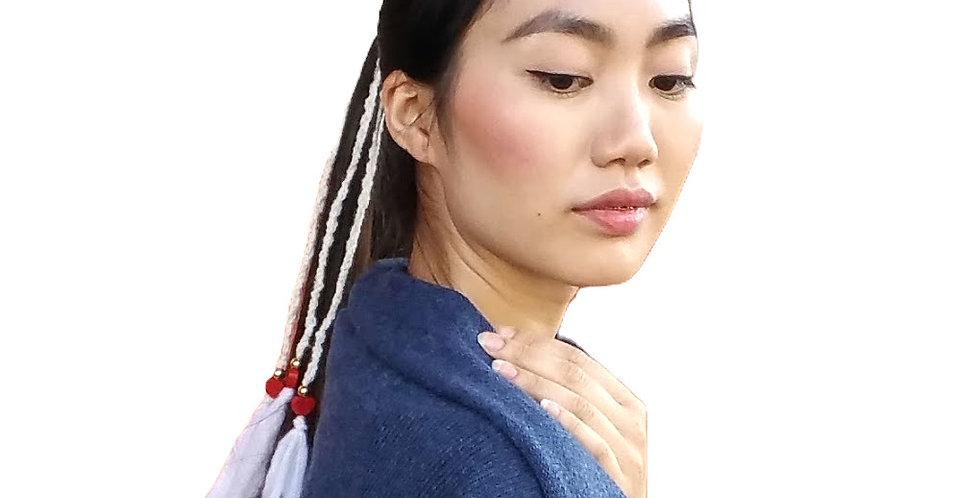 Dragon Braid Hair Band, White & Hearts