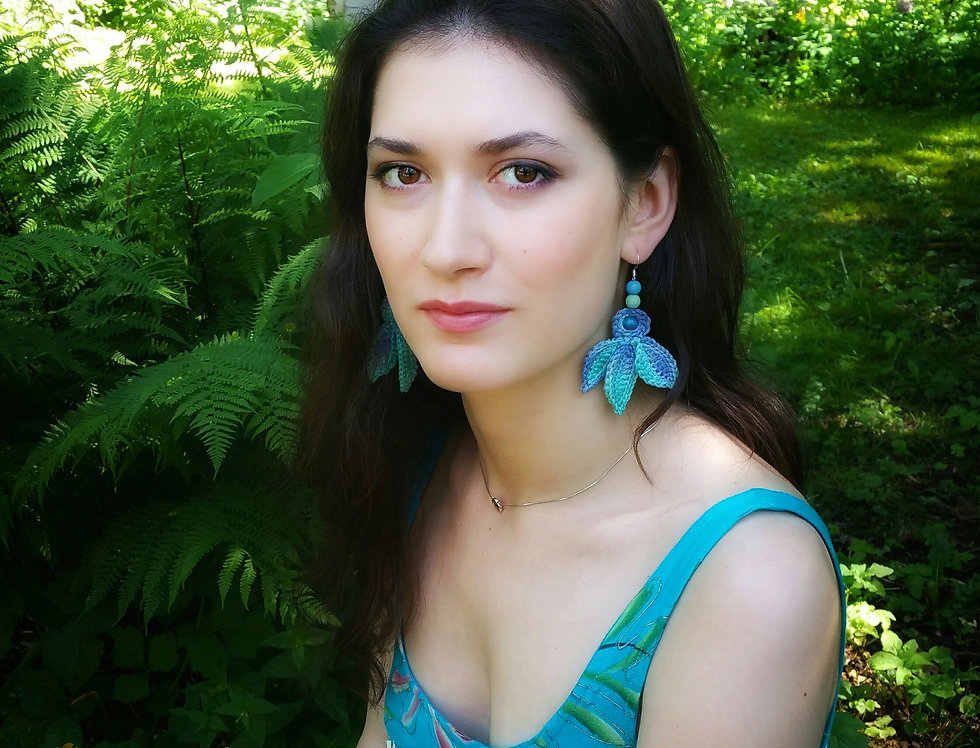 Fairy wings earrings, turquoise