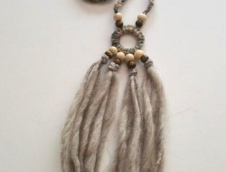 light bark WoodO fringe pendant