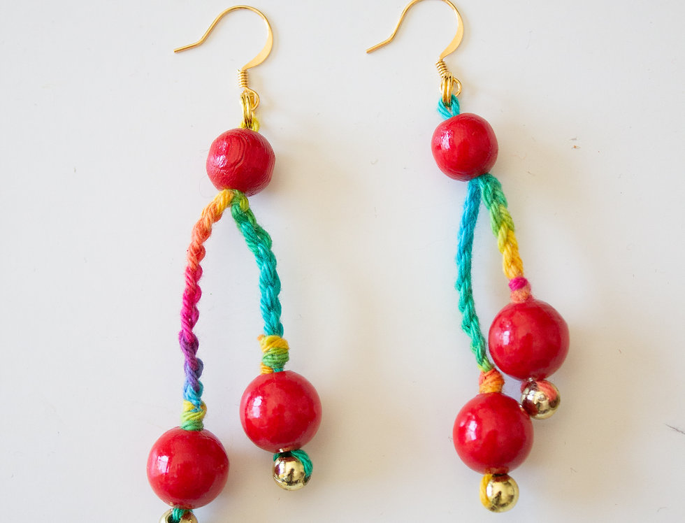 red light earrings with wooden pearls