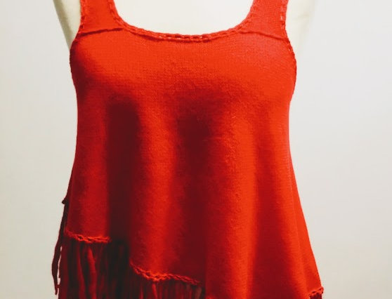 Red knitted nordic amazon fringe top