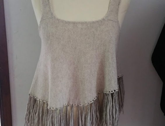 linen knitted nordic amazon fringe top
