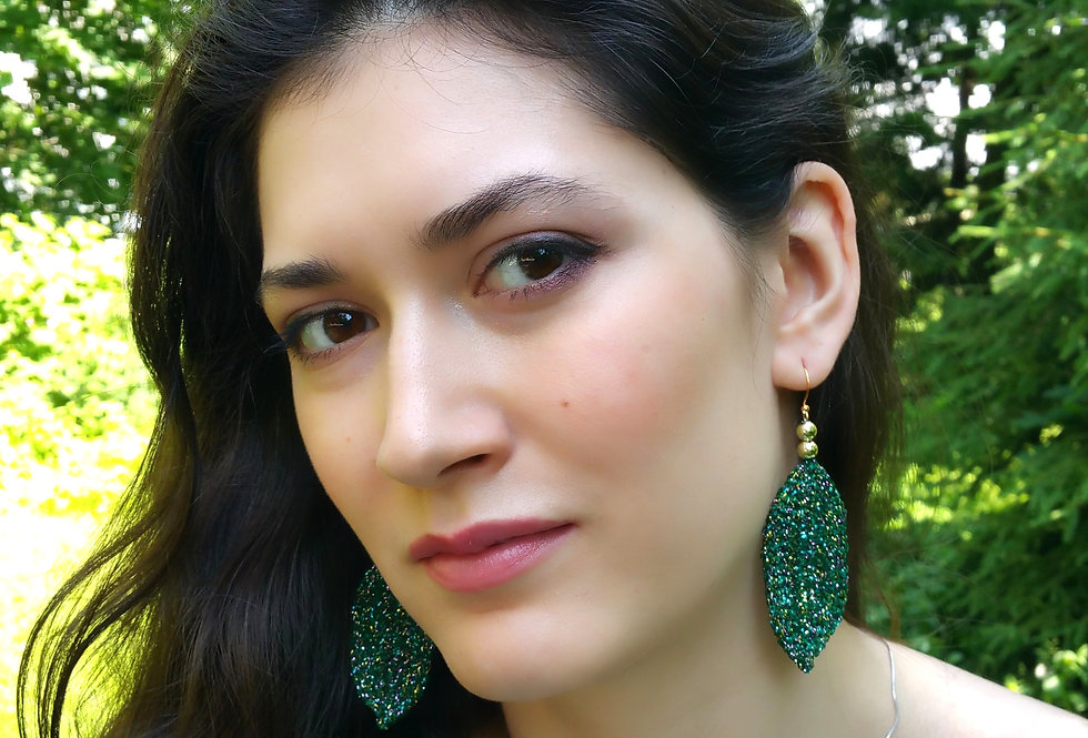 Leaf earrings, emerald green