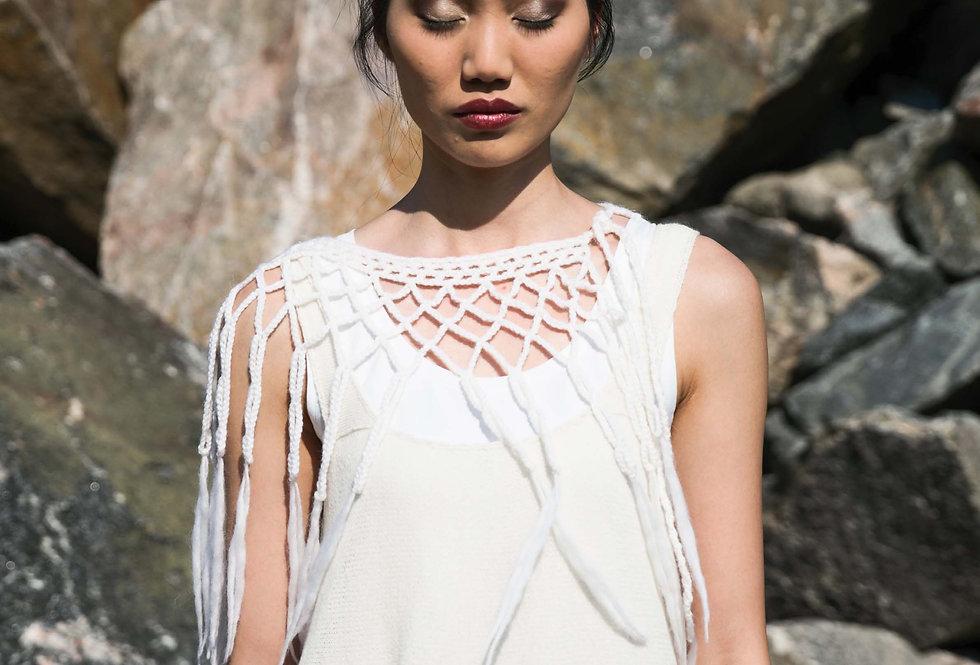 wearing white crocheted louhi lace web