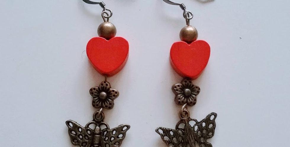 love earrings, butterfly