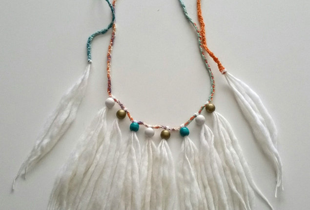 white crocheted wood o necklace