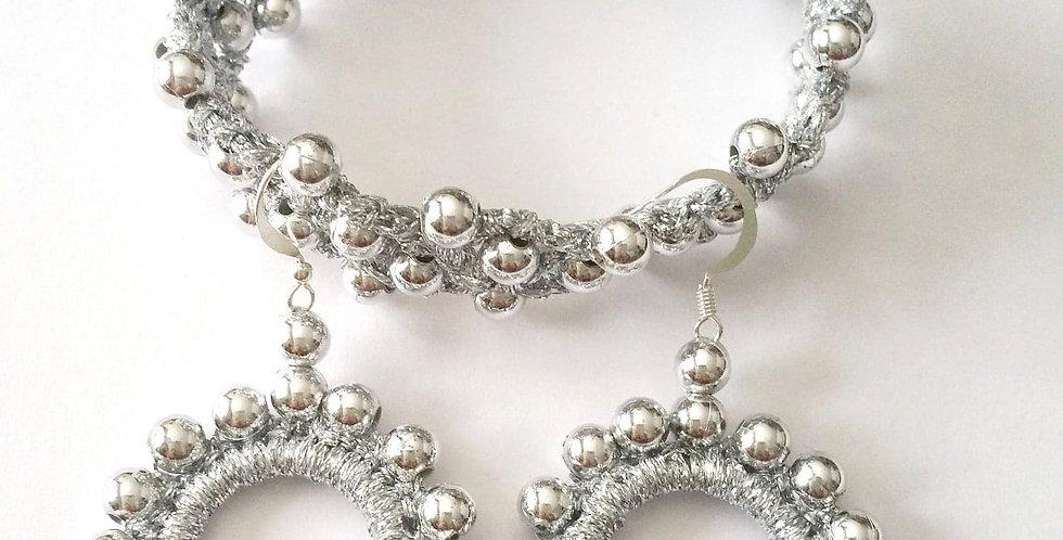 Silver Sun Goddess jewelry set, silver