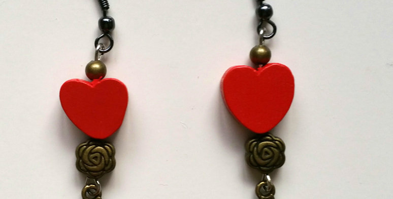 rose coloured love earrings