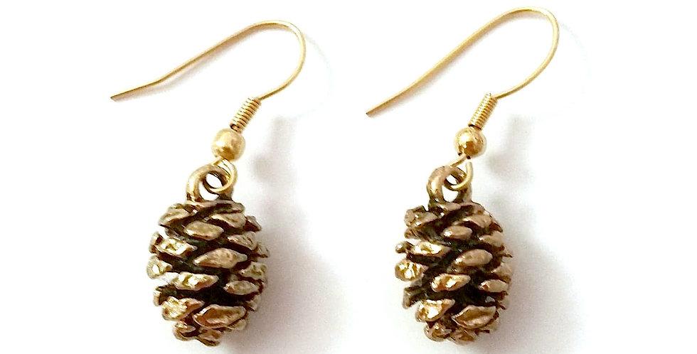 Cone earrings, gold