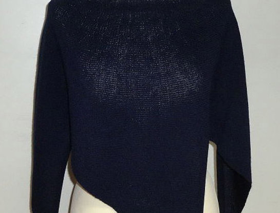 navy blue knitted four winds poncho