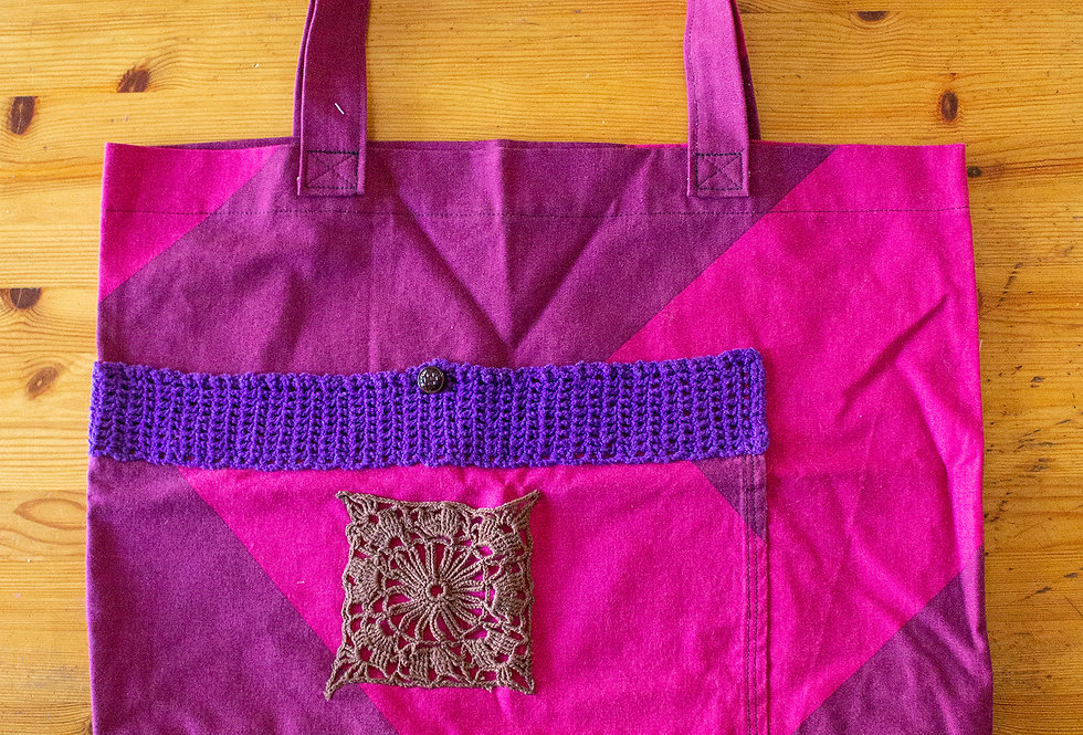 purple lacetrimmed shopping bag front