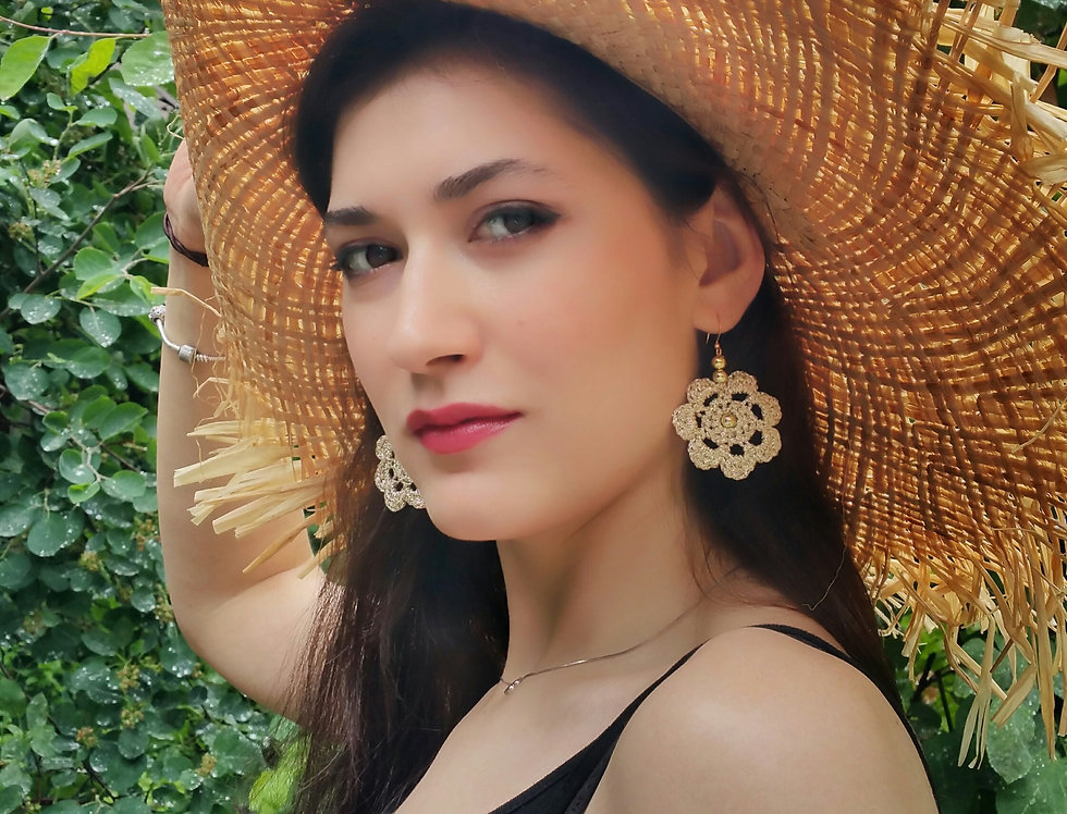 Flower of Life lace earrings, gold