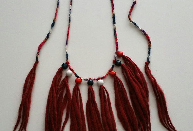 terra crocheted wood o necklace with wooden pearls