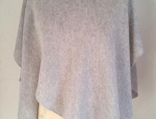 silver grey knitted diamond wings poncho