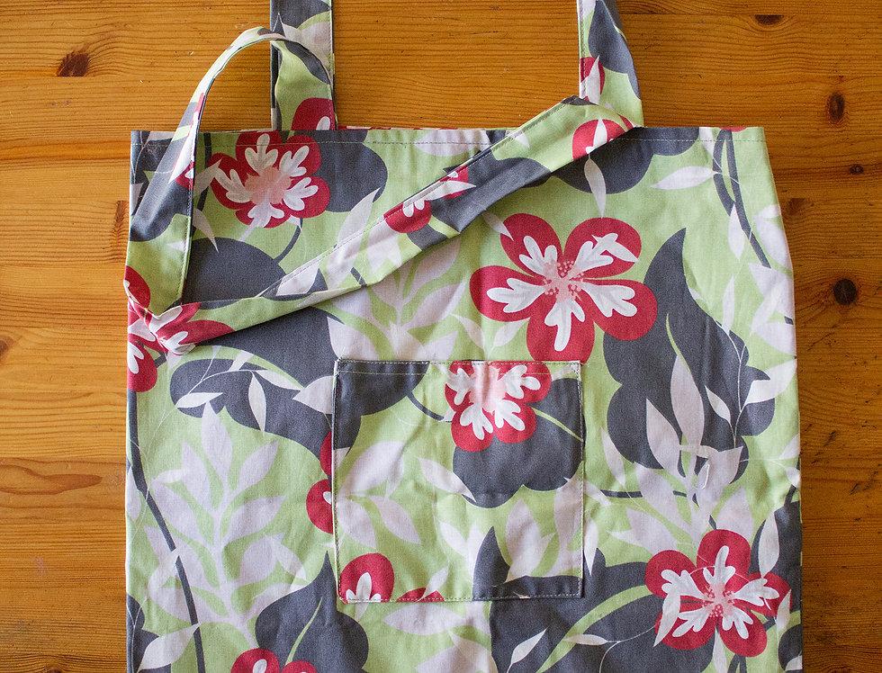flower print reusable shopping bag front