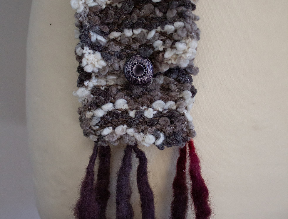 black-grey soft crocheted fairy bag with fringe