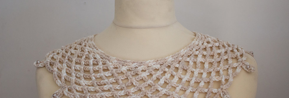 beige-white crocheted lace collar with wax pearls