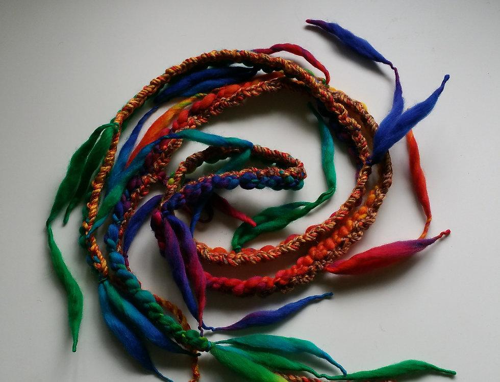 aurora borealis coloured crocheted City Shaman garland