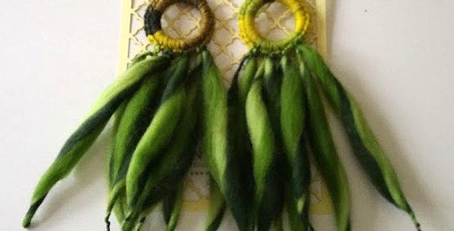 green woollen nordic light fringe earrings