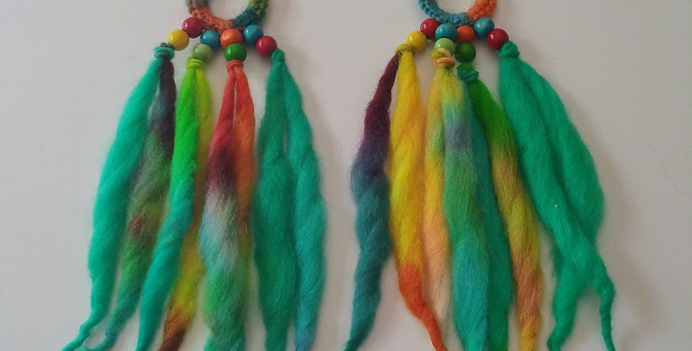Paradise coloured WoodO fringe earrings