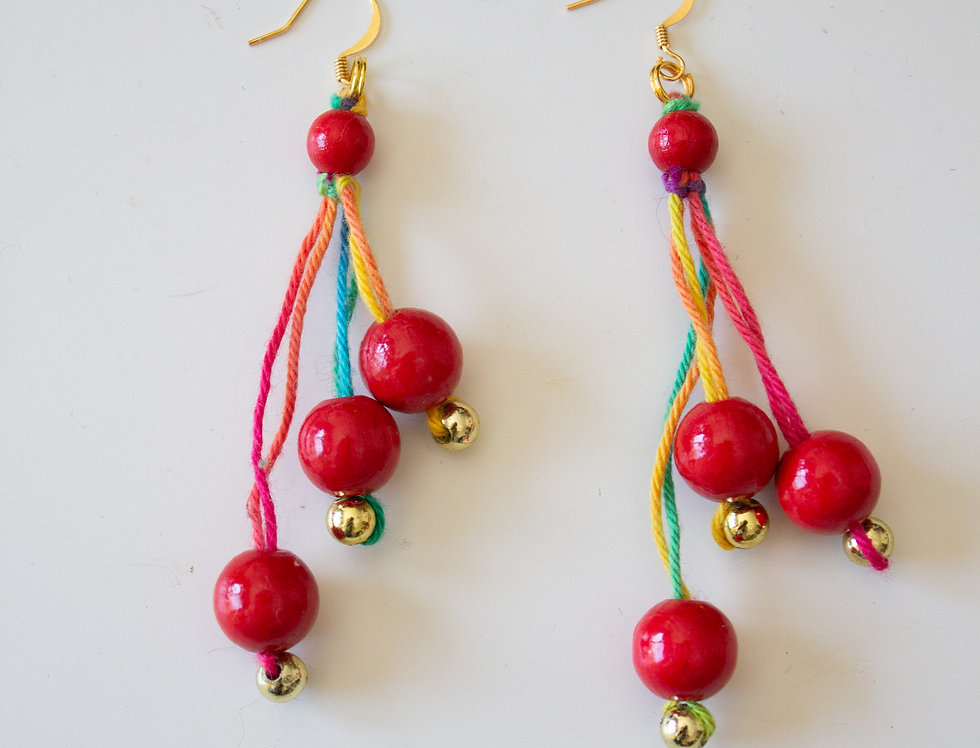red light berry bell earrings with wooden pearls