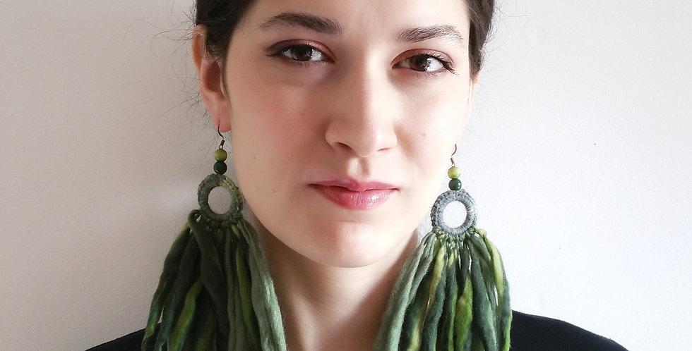 Tribe earrings, Green fairy