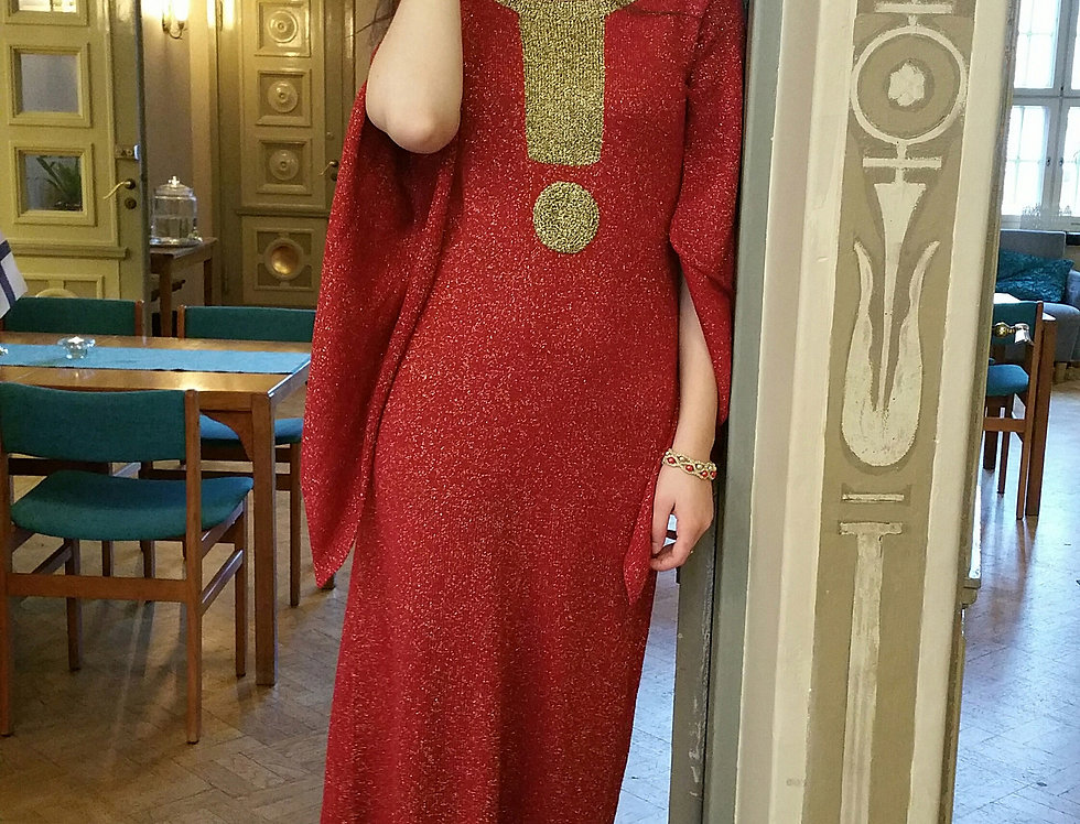 shiny red and gold knitted spirita gown