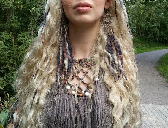 wearing bark woollen nordic light fringe earrings