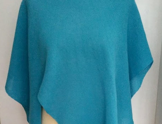 Turquoise knitted diamond wings poncho