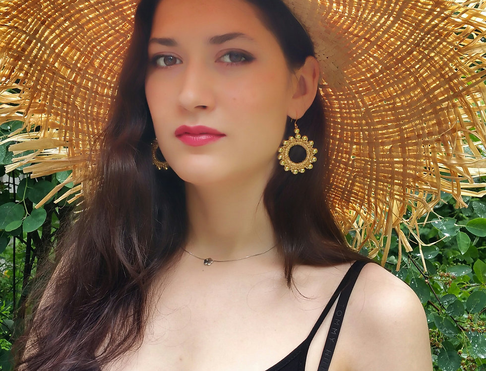 Sun earrings, gold