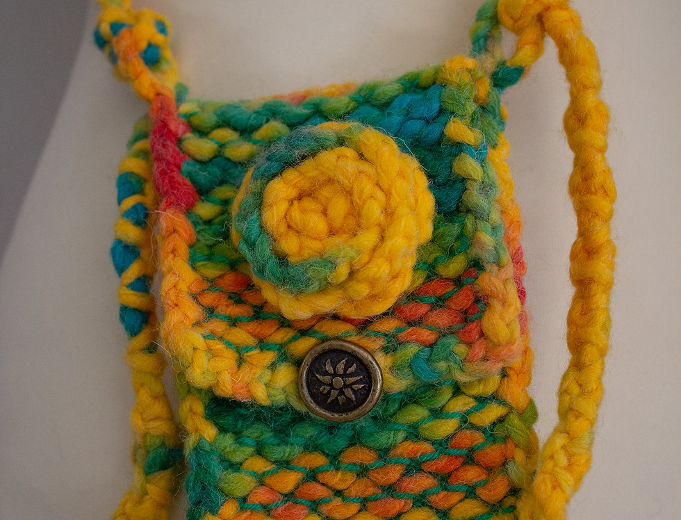 colorful soft crocheted fairy bag