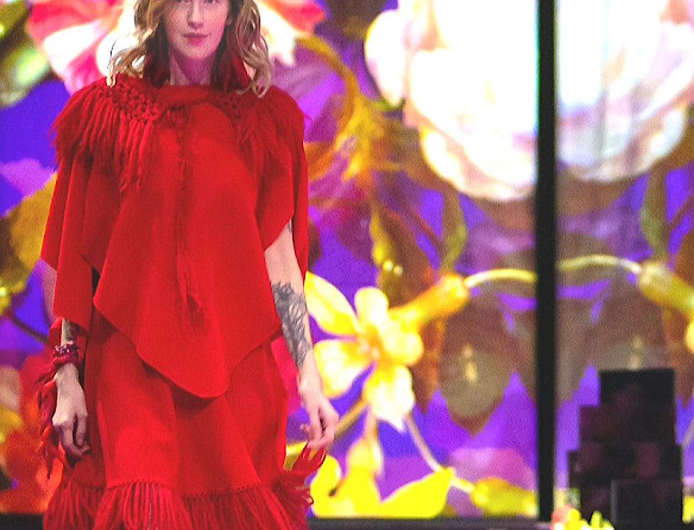 """Diamond Wings"" shawl (red)"